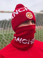 Шапка Мужская + Баф(горловик) ФК Манчестер Юнайтед /комплект