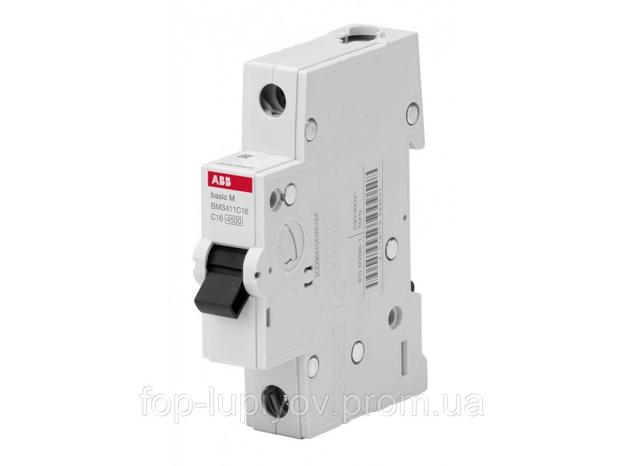 Автоматический выключатель BMS411C16, 1Р 16А 4.5 кА х-ка C, ABB