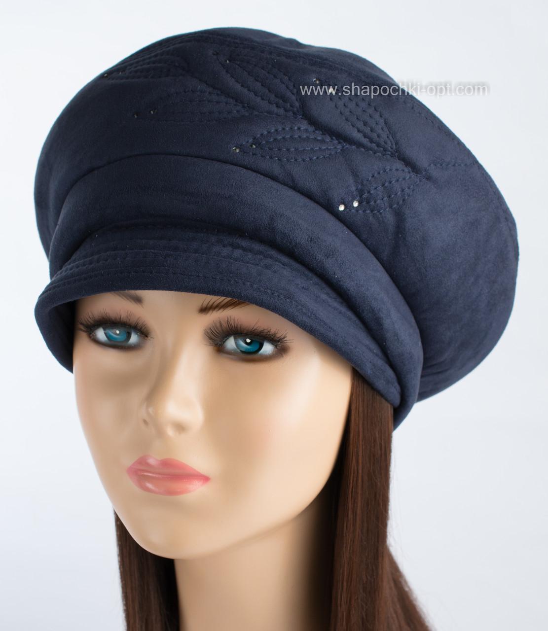 Фактурная женская шапка Ветка с козырьком синего цвета