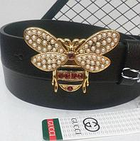 Кожаный ремень для женщин Gucci пчела, черный ремень, жіночі ремні