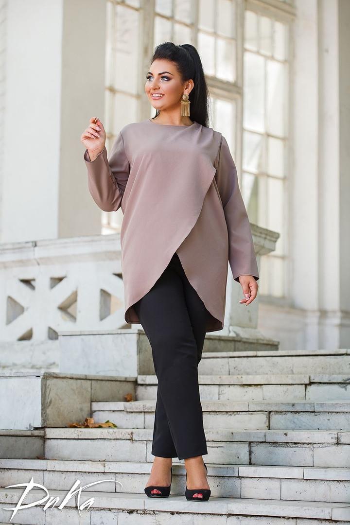 Женский брючный костюм двойка блузка и штаны креп костюмка батал размер: 50-52, 54-56