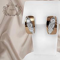 """Женские серебряные серьги с золотыми пластинами и белыми фианитами """"Ария"""", фото 1"""