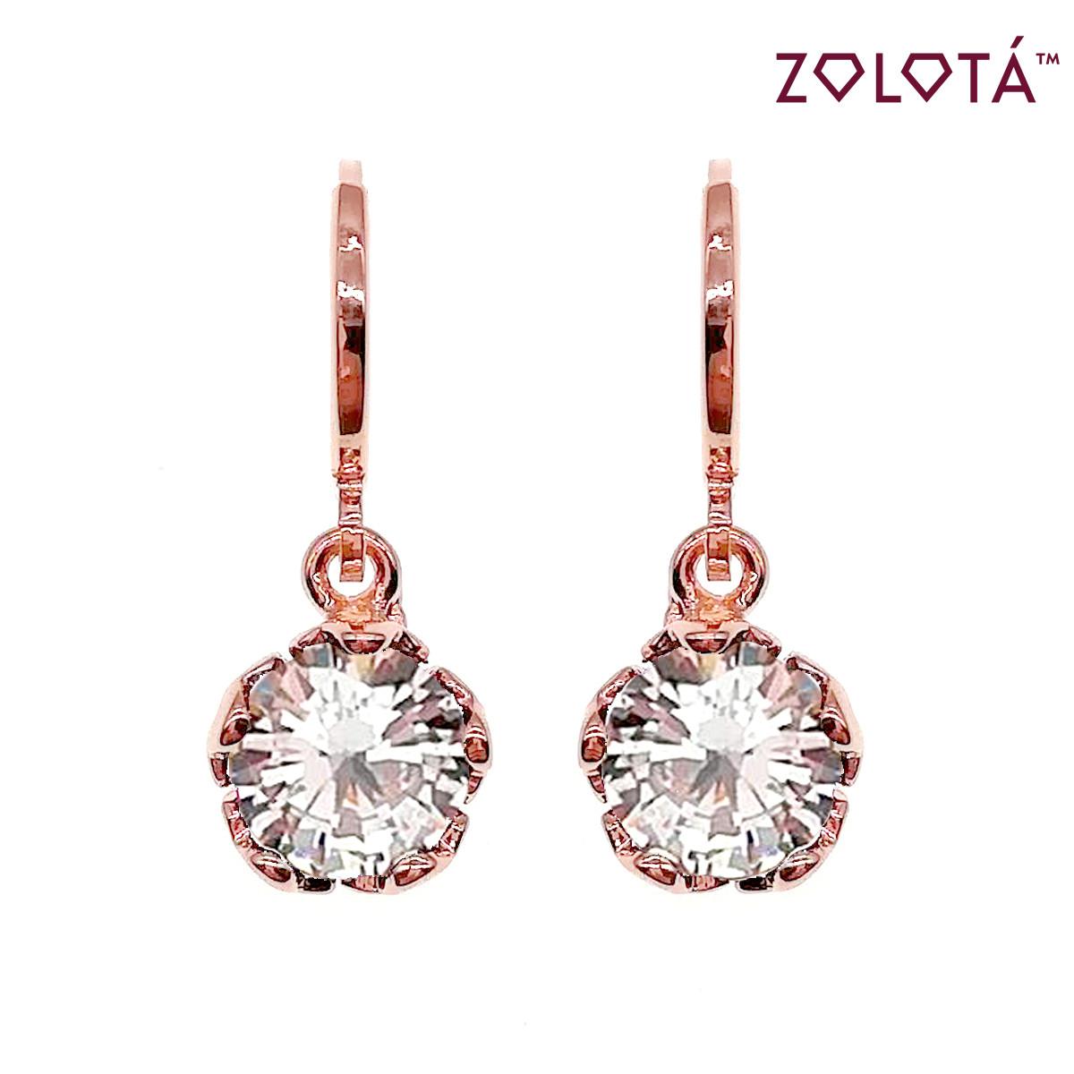 Серьги Zolota с белыми фианитами (куб. цирконием), из медицинского золота, в позолоте, ЗЛ00656 (1)
