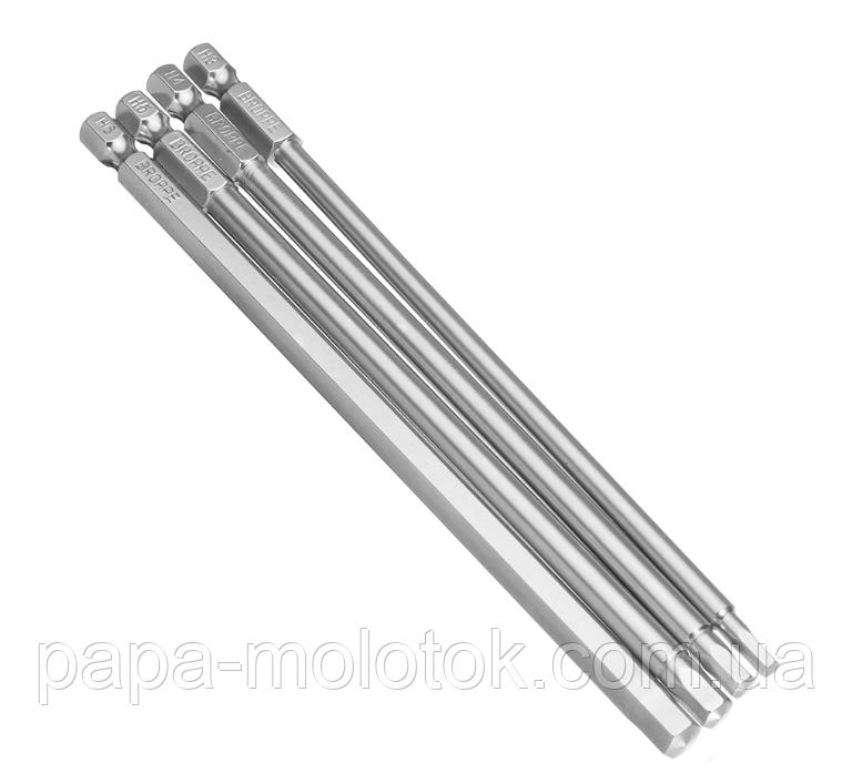 Набор  бит 4 шт., 150 мм. Шестигранных 3-6 мм, Сталь 1/4 дюйма шестигранным хвостовиком