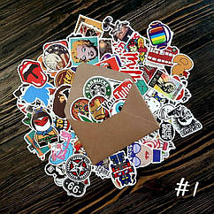 Водоотталкивающие стикеры на ноутбук, авто, велик, скейт, Стикербомбинг, виниловые наклейки НАБОР №1 - 50 шт