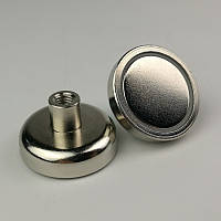 Неодимовый магнит D25 25мм * 7мм крепежный в корпусе с резьбой  17кг