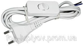 Шнур УШ-1КВ с плоской вилкой и выключательем 2х0.75/2 метра, белый ІЕК