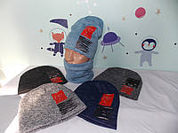 "Комплект ангора двойная на ФЛИСЕ  ""WILD 2"" шапка и баф,снуд размер 52-56 подросток., фото 1"