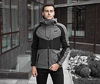 Куртка мужская Pobedov  осенняя спортивная качественная с капюшоном, серая с черной вставкой