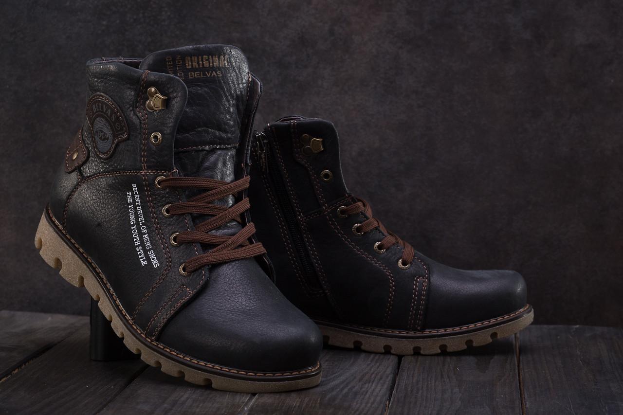 Мужские ботинки кожаные зимние черные Belvas 1631
