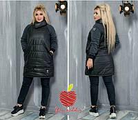 Женское пальто удлиненная куртка плащевка на синтепоне рукав трехнить с начёсом батал размер:50-52,54-56