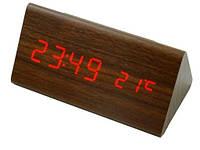 Деревянные часы LED будильник и термометр