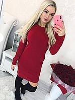 Облегающее ангоровое осеннее платье футляр, норма и батал большие размеры