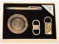 PN4-49 Патриотический сувенир, Подарочный набор: зажигалка + пепельница + ручка + брелок, Презент мужчине