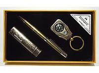 MTC-97 Подарочный набор MOONGRASS: ручка + брелок + зажигалка (старая бронза), Подарок мужской с зажигалкой