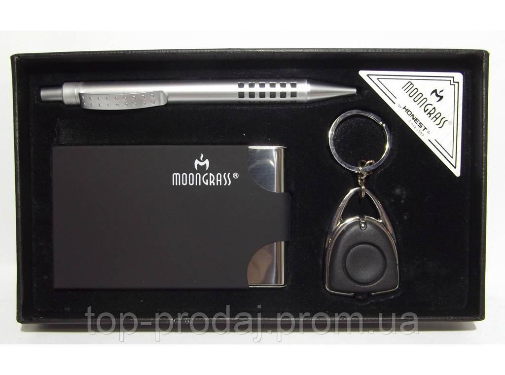 MTC-54 Набор MOONGRASS: ручка + брелок + визитница, Подарочній набор, Визитница в подарочной упаковке, Сувенир