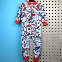 Детская пижама спальник для мальчика кулир начес размер  32, 34
