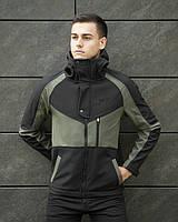 Мужская куртка Pobedov Soft Shell осенняя спортивная из водонепроницаемой плащевки, черная/вставка цвета хаки