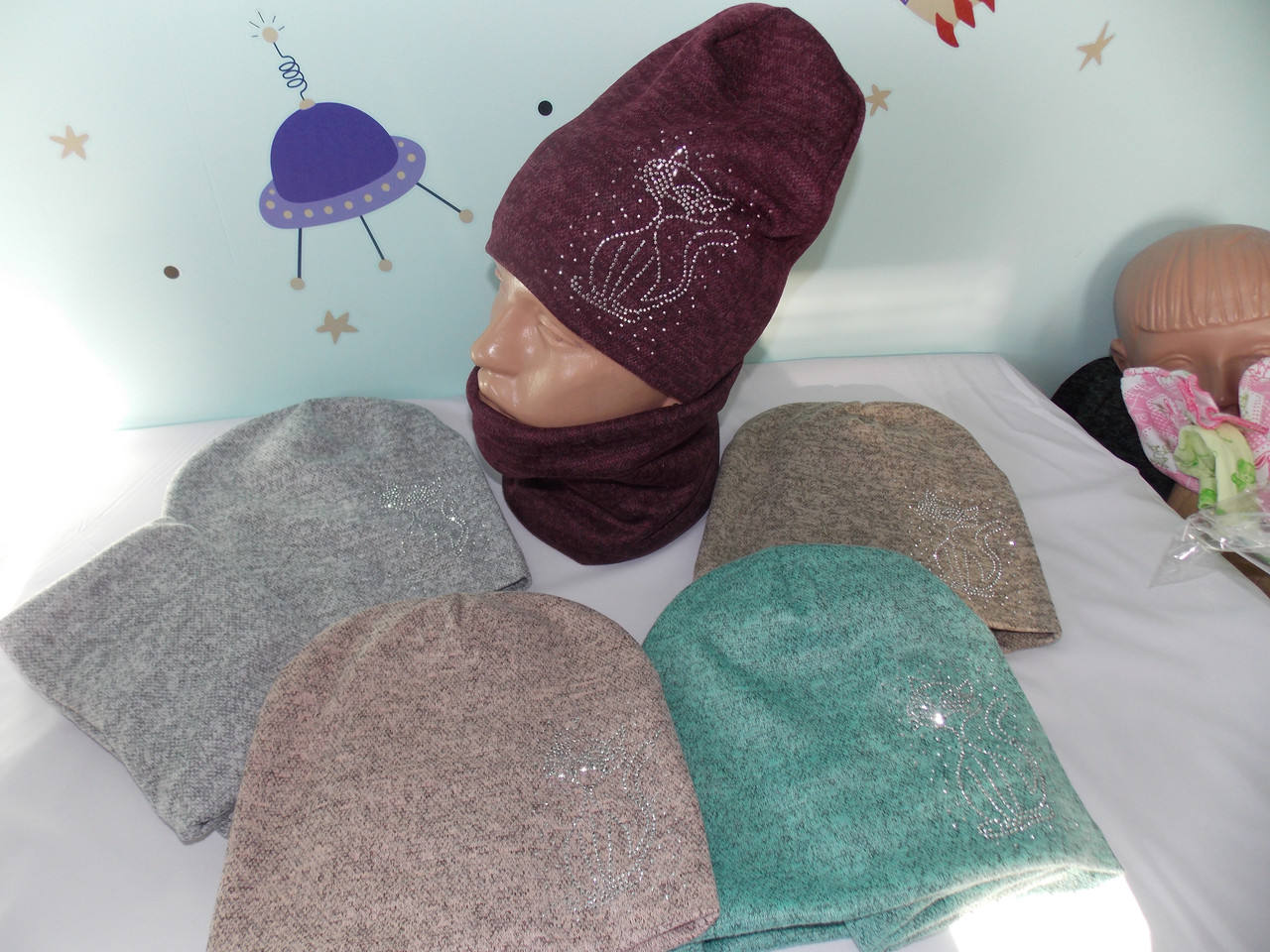 "Комплект ангора двойная на ФЛИСЕ  ""KETT"" шапка и баф,снуд размер 52-56 подросток."