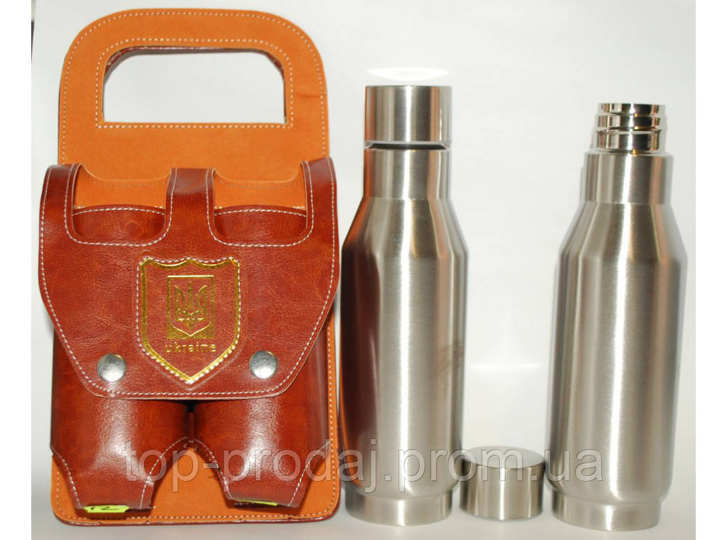 F1-34 Набор в чехле: 2 фляги в форме бутылки, Фляги в форме бутылки по 500 мл, Набор фляг для алкоголя