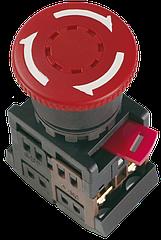 """Кнопка AE-22 """"Грибок"""" с фиксацией красная d22мм 240В 1з+1р, ІЕК"""