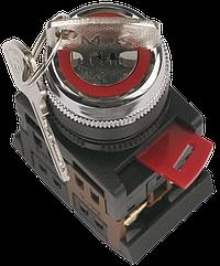 Переключатель АKS-22 чорний с ключом на 2 фиксированных положения I-O 1з+1р, ІЕК