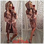 Женский плотный халат в горошек с капюшоном, фото 2