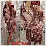 Женский плотный халат в горошек с капюшоном, фото 3