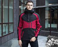 """Мужская куртка Pobedov Soft Shell Jacket """"Klon"""" повседневная теплая из водонепроницаемой плащевки, бордовая"""