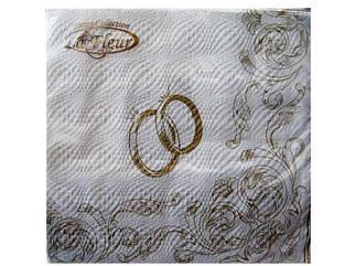 Праздничная салфетка (ЗЗхЗЗ, 20шт) La Fleur  Свадебные кольца     (101) (1 пач)