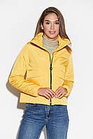 Короткая желтая осенняя куртка на молнии, фото 1