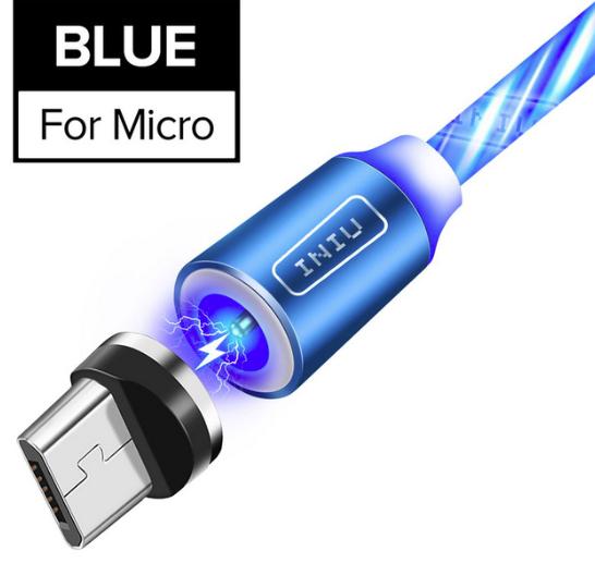 INIU Магнитный кабель Micro USB с подсветкой быстрая зарядка 2.4А для Android Samsung Xiaomi Цвет голубой