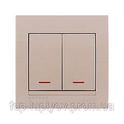 Выключатель двухклавишный с подсветкой ,крем, Deriy Lezard