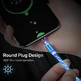 INIU Магнитный кабель Micro USB с подсветкой быстрая зарядка 2.4А для Android Samsung Xiaomi Цвет зелёный, фото 4