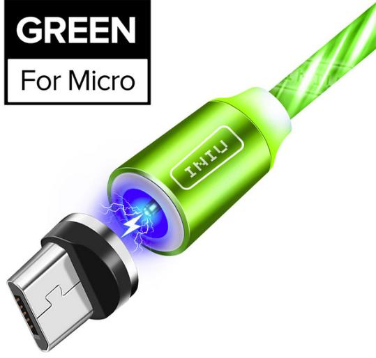 INIU Магнитный кабель Micro USB с подсветкой быстрая зарядка 2.4А для Android Samsung Xiaomi Цвет зелёный