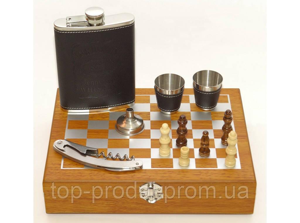 NF4-17  Подарочный набор фляга стопки штопор в коробке,Набор с шахматами в деревянном сундучке, Фляга 240 мл