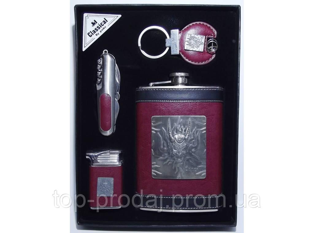 NFEE256 Подарочный Набор: фляга + зажигалка + нож/штопор + брелок, Фляга и зажигалка в наборе, Фляга 270 мл