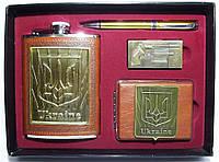 NFTZ-10 Патриотический набор с флягой, Фляга подарочная, Фляга + ручка + зажигалка + портсигар