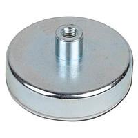Неодимовий магніт D48 48мм * 12мм кріпильний в корпусі з різьбленням 60кг