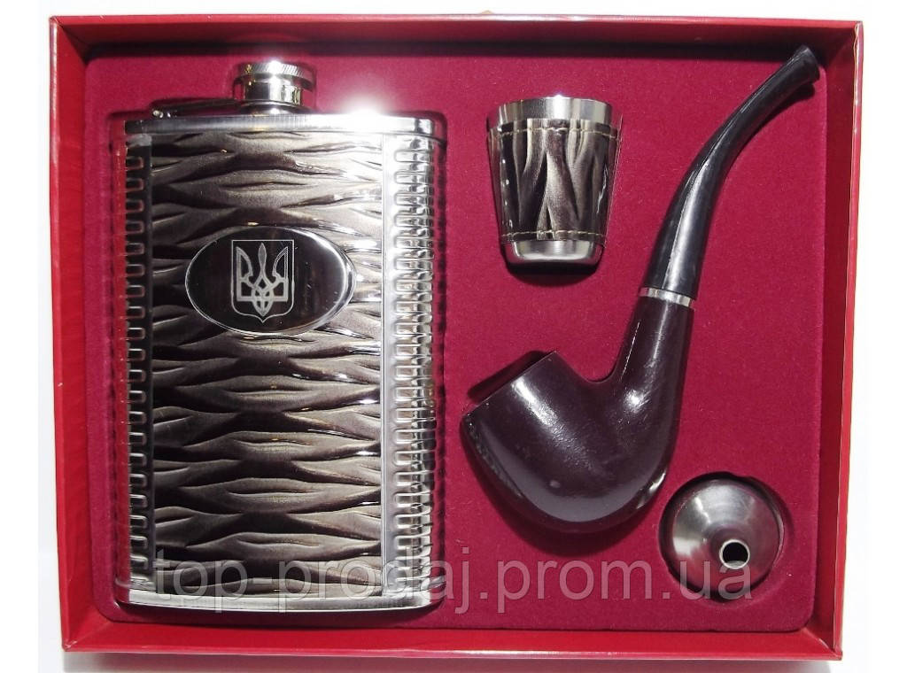 NF194 Подарочная фляга с трубкой, Набор: фляга + трубка + стопка + лейка, Фляга и стопка в коробке