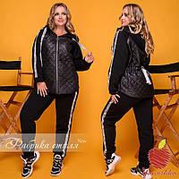 Женский теплый спортивный костюм двойка куртка и штаны трехнитка флис и плащевка размер: 50-52, 54-56