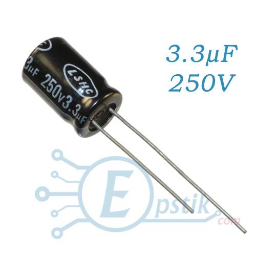 Конденсатор 3.3 uF 250V, (8*12) 105°C