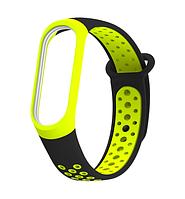 Силиконовый двухцветный чёрный с жёлтым ремешок на фитнес трекер Xiaomi mi band 4 / 3 браслет