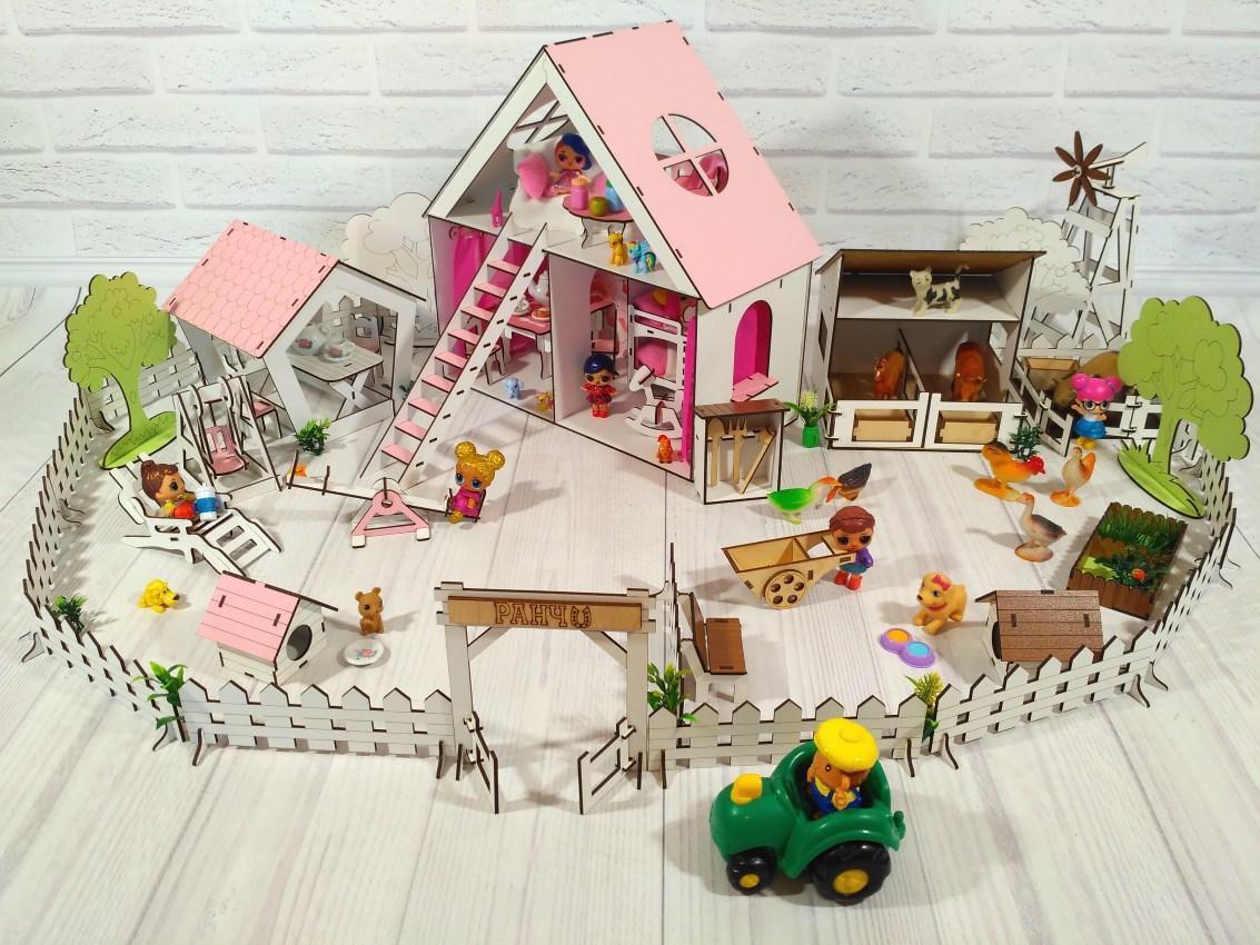 Фарбований ляльковий будиночок для LOL LITTLE FUN з Двориком і Фермою, шпалерами, шторками, меблями, текстилем