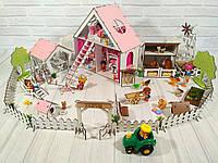 Фарбований ляльковий будиночок для LOL LITTLE FUN з Двориком і Фермою, шпалерами, шторками, меблями, текстилем, фото 1