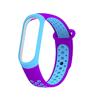 Силиконовый двухцветный фиолетовый с голубым ремешок на фитнес трекер Xiaomi mi band 4 / 3 браслет
