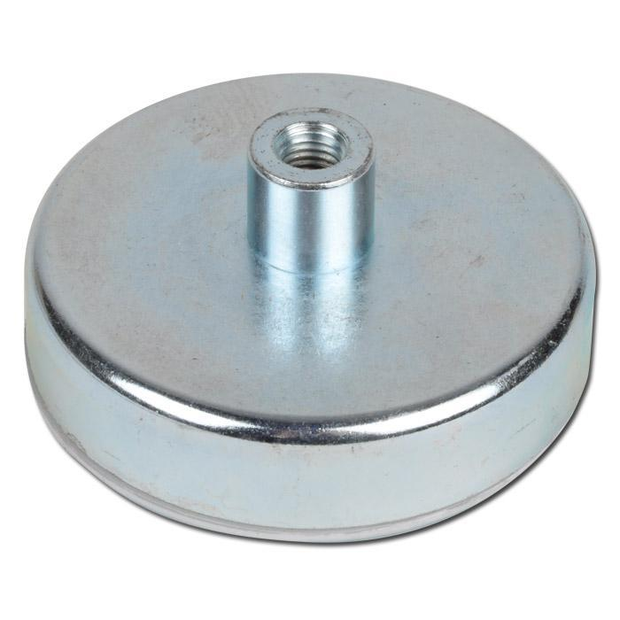 Неодимовый магнит D75 75мм * 18мм крепежный в корпусе с резьбой 180кг