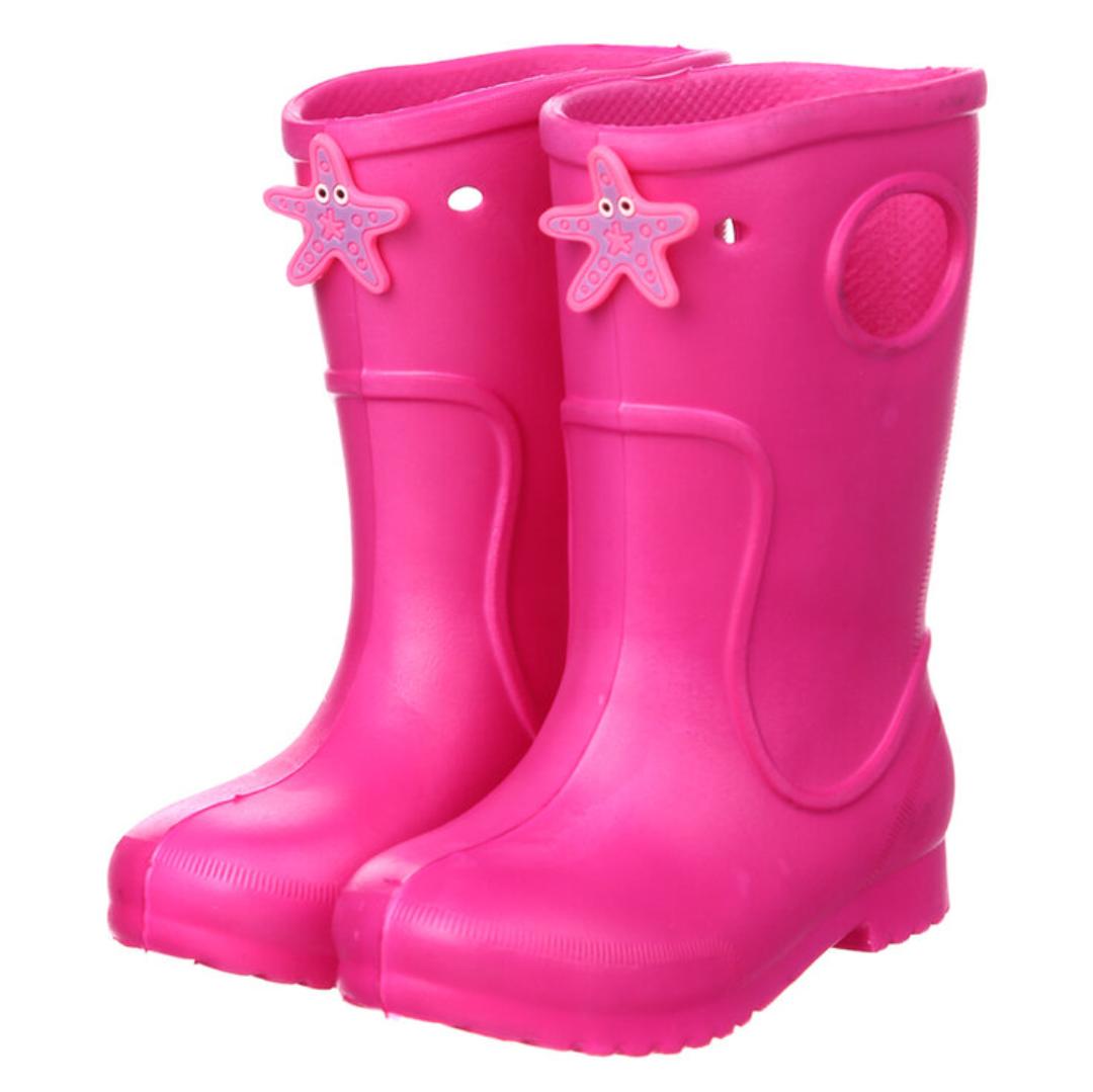 Розовые сапоги на дождь из пены ЭВА, р.28/29, стелька 18 см. Резиновые сапоги.