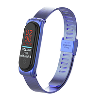 Металлический браслет цвет синий для фитнес трекера Xiaomi mi band 4 / 3 ремешок аксессуар замена, фото 1