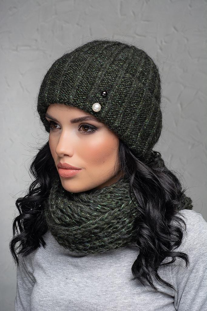 Комплект (шапка и снуд-хомут) Flirt Лика-Морган One Size зеленый